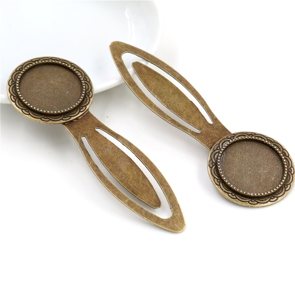 New Fashion 2pcs 20mm Inner Size Antique Bronze Vintage Style Handmade Bookmark Cabochon Base  Cameo Setting -R6-15