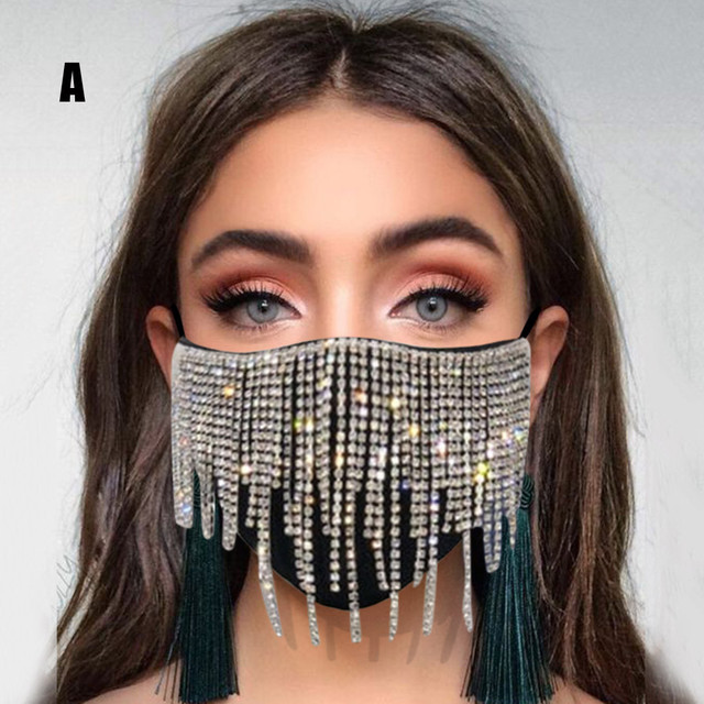 #30 1PC  Women's Sequin Mask Fashion Club Face Mask Flash Diamond Jewelry Tassel Pendant Party Mask mascarillas adultos 4