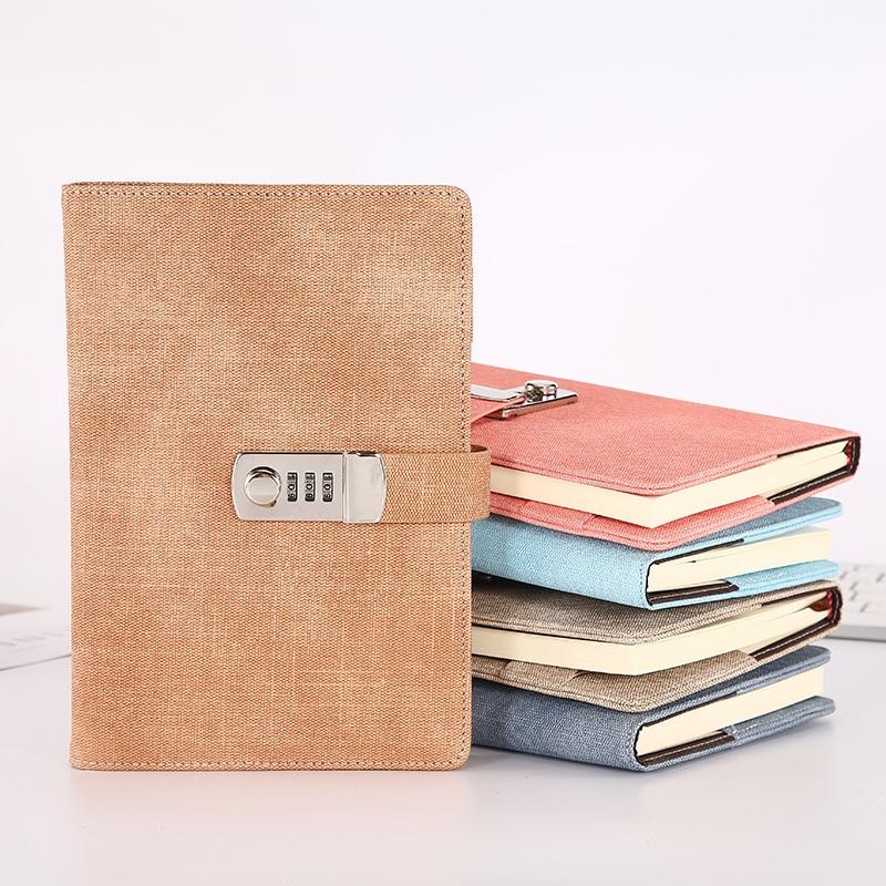 A5 senha caderno livro portátil lockable couro do plutônio diário bloqueio viajante diário semanal planejador escola papelaria presentes