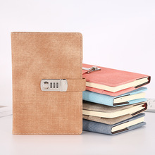 A5 Password Notebook Paper Lockable Portable Book PU Leather Diary Lock Traveler Journal Weekly Planner School Stationery Gifts