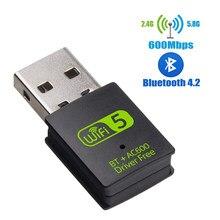 Adapter USB WiFi Bluetooth 600 mb/s dwuzakresowy 2.4/5Ghz bezprzewodowy odbiornik zewnętrzny Mini Adapter WiFi na PC/Laptop/pulpit
