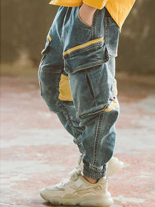 Jeans Teenage-Clothes Patchwork Boys School Pants Autumn Novelty for Casual Cargo Kids