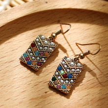 Bohemian Ethnic Earrings 2020 New Fashion Women Earrings Vintage Geometric Square Colored Rhinestone Earrings charming geometric colored artificial gem rhinestone fake collar necklace and earrings for women