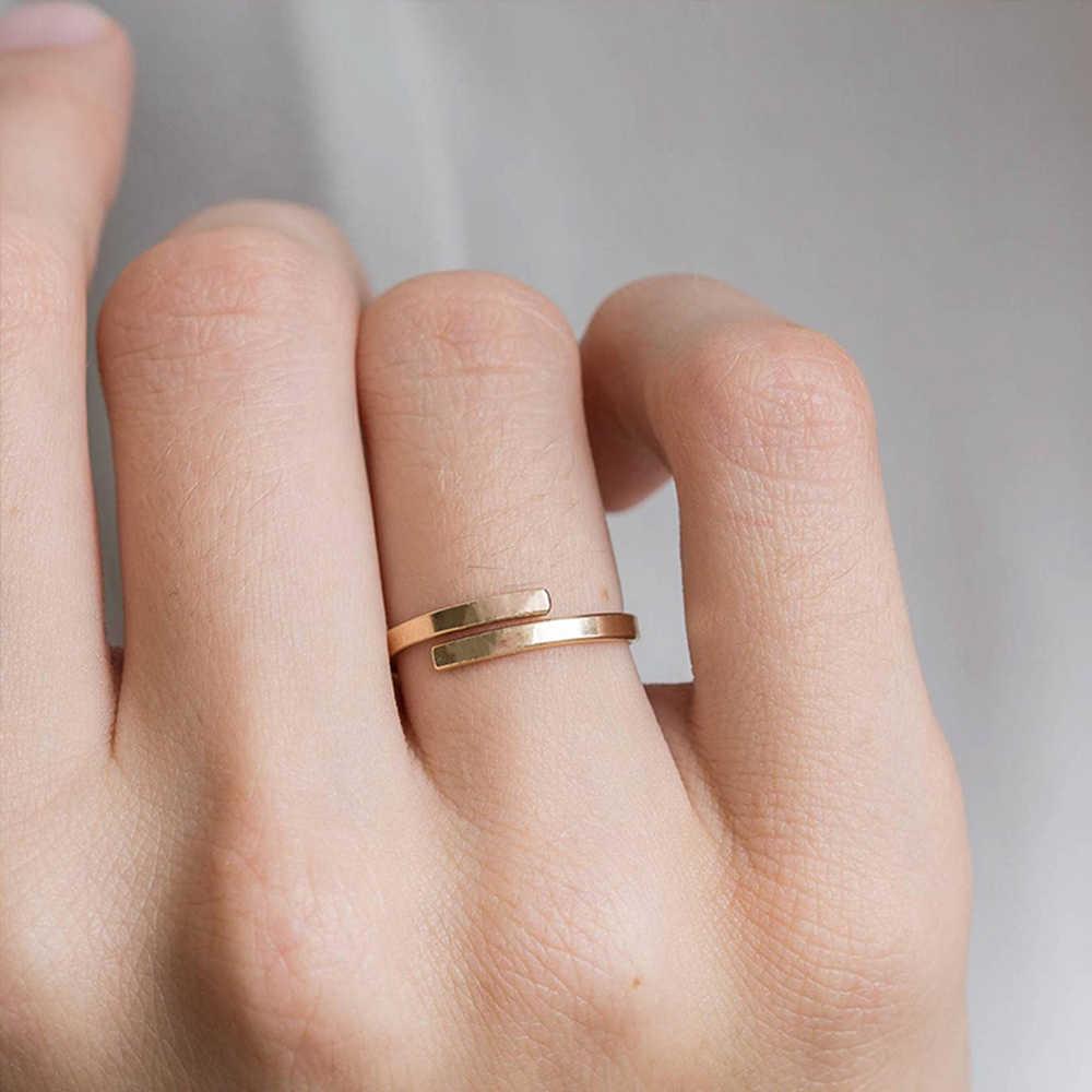 טבעת אצבע אישית מכתב מאהב לנצח אירוסין טבעת מתכוונן נירוסטה שתי שכבה טבעות לנשים זרוק משלוח