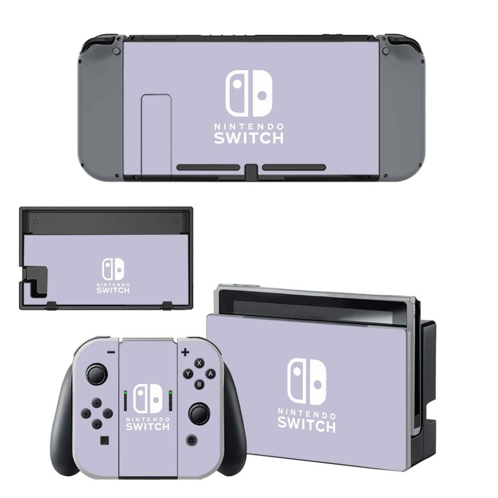 Pure Color Purple Pink Vinyl Screen Skin Protector Stickers For Nintendo Switch NS Console + Controller + Stand Holder Skins