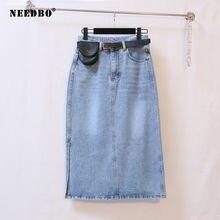 Женская джинсовая юбка карандаш needbo Повседневная миди узкие