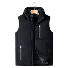 2019 AUTUMN Winter Sleeveless Jacket Down Vest Mens Warm Thick Hooded Coats Padded Waistcoat  Plus Size XL-5XL 6XL 7XL 8XL
