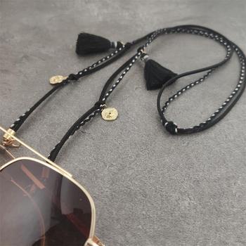 Mascarilla de cuero con cordón para hombre y mujer, soporte de cadena dorada para cuello, correa para gafas de sol
