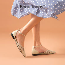 Женские плетеные босоножки beautoday летние туфли из воловьей