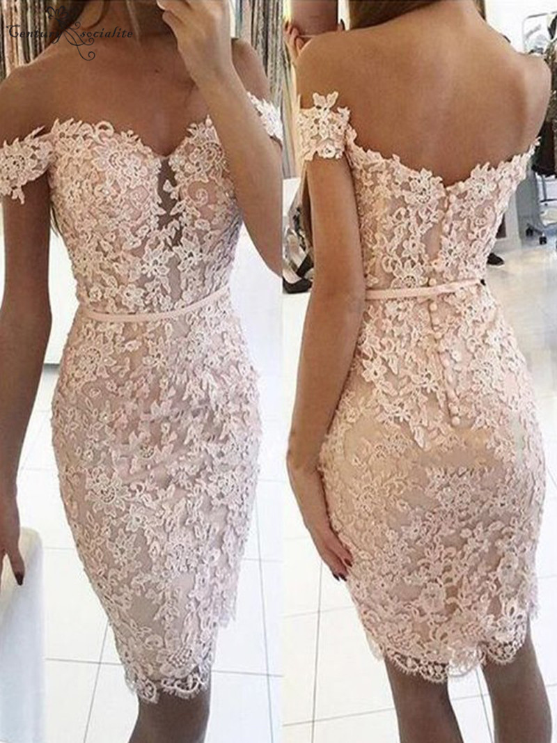 Sheath Off Shoulder Pink   Cocktail     Dresses   Short Lace Appliques Beaded Above Knee Prom Party Gowns Homecoming   Dresses   Pus Size