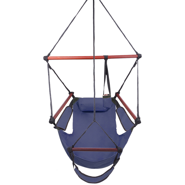 Blue Portable Hammock Rope Chair Kakorai Fully Equipped S-Hook High Strength Assembled Hammock Seat Hammock-US Stock 1