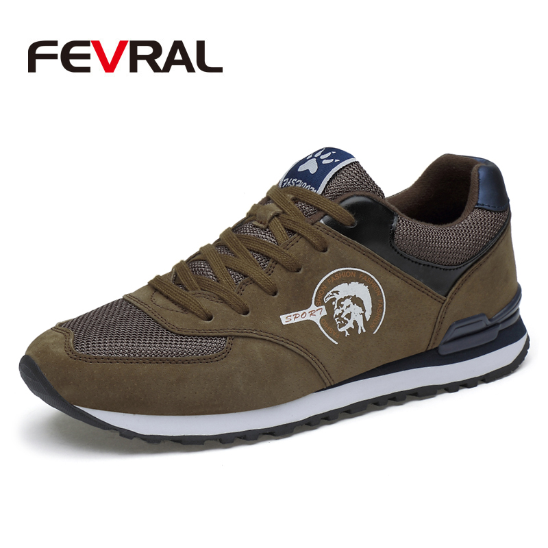 FEVRAL Men Sneakers Genuine Leather & Mesh Air Breathable Trainers Light Weight Outdoor Walking Shoes Spring Summer Autumn DailyMens Casual Shoes   -