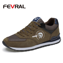 FEVRAL Men Sneakers Genuine Leather & Mesh Air Breathable Trainers Light Weight Outdoor Walking Shoes Spring Summer Autumn Daily