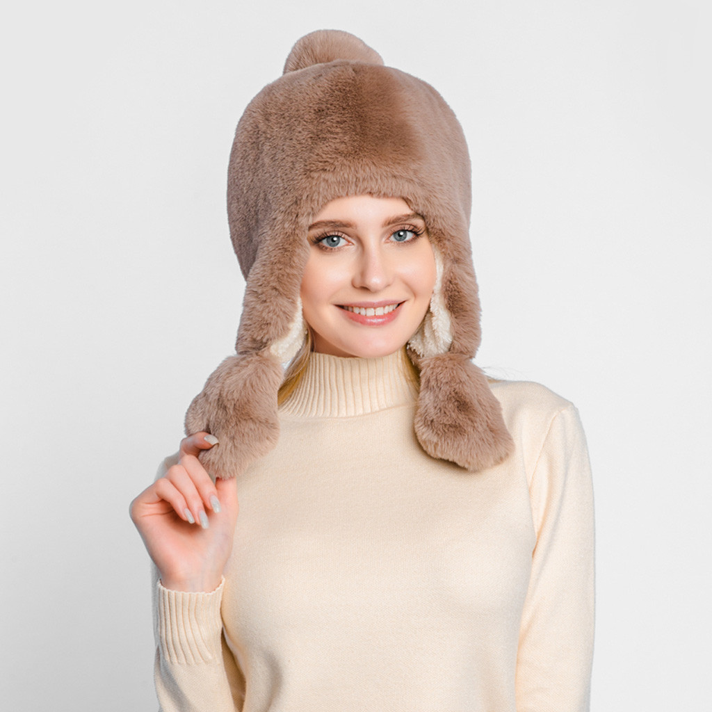 Winter Hat Ear-Protectors Plush-Hat Faux-Fur Ladies Warm Cap Sweet-Girl-Sombrero Thick