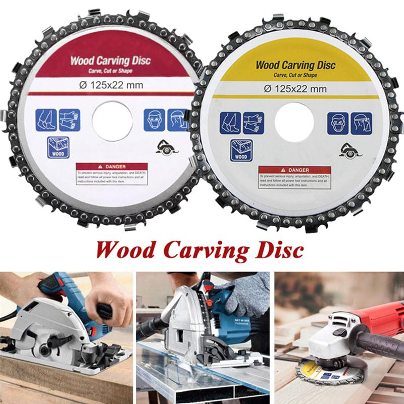 2Pcs 5Inches  Grinder Disc And Chain Fine Abrasive Cut Chain Carver Attachment For Angle Grinder