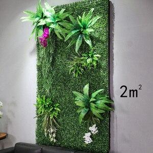 Image 5 - Painéis de parede de 2m x 1m, painéis de parede de flores artificiais, folhas tropicais de plástico, decoração de casa, casamento, faça você mesmo acessórios