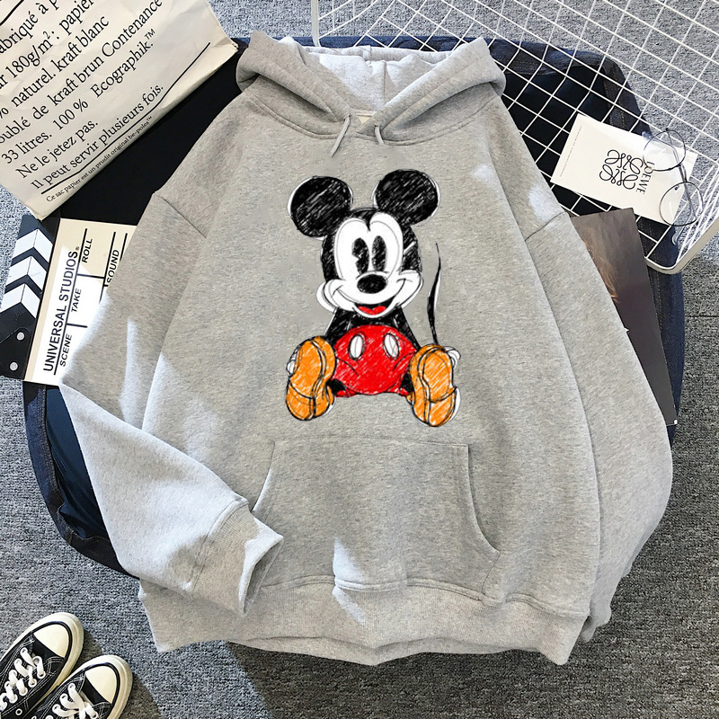 Disney 2021cartoon print sweatshirt women Funny hip hop Mickey Mouse print autumn and winter fashion Harajuku style hoodie women 20