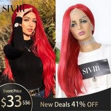 Sivir dentelle partie perruques synthétiques cheveux longs raides moyen synthétique perruque pour les femmes rouge/violet cheveux femme perruque doux dentelle perruque