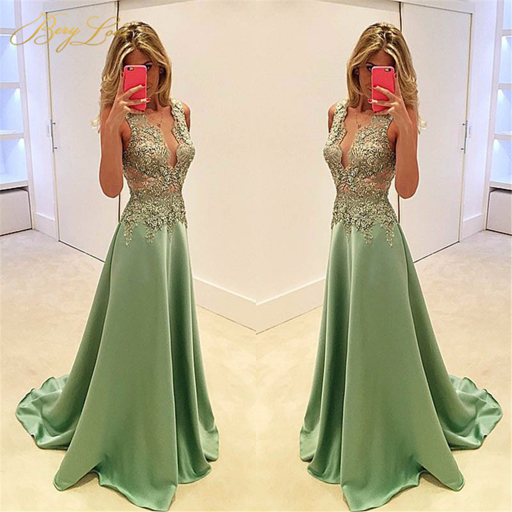 BeryLove Shiny Satin Green Evening Prom Dresses 2020 Elegant Gold Appliques Women Long Fashion Beading Sexy V Neck Party Dresses