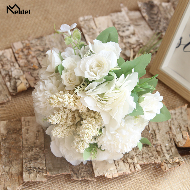 Meldel Artificial Roses Peony Wedding Bouquets For Bridesmaids White Silk Wedding Flower Bridal Bouquet Artificial Flowers Decor