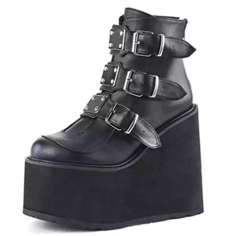 Winter Buckle Ankel Boots Women Punk Female Platform Boots Wedges High Heels PU Women Boots Botas Mujer Plus Size