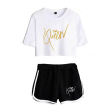 Harajuku Fashion Design Trendy Eva Queen Two Piece Set Women Sexy Shorts+lovely T-shirt Cute Classic Funny Sport Girl suits