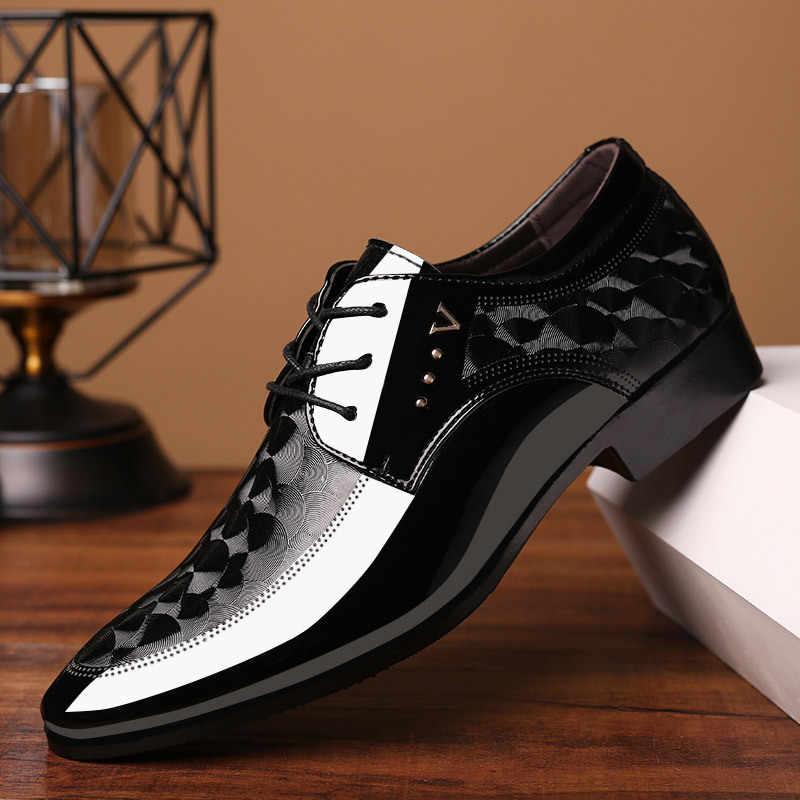 Size Lớn 38-48 Nam Cổ Điển Đầm Giày Bằng Sáng Chế Da Giày Oxford Cho Nam Giày Cưới Sang Trọng Trận Derby Kinh Doanh form Giày