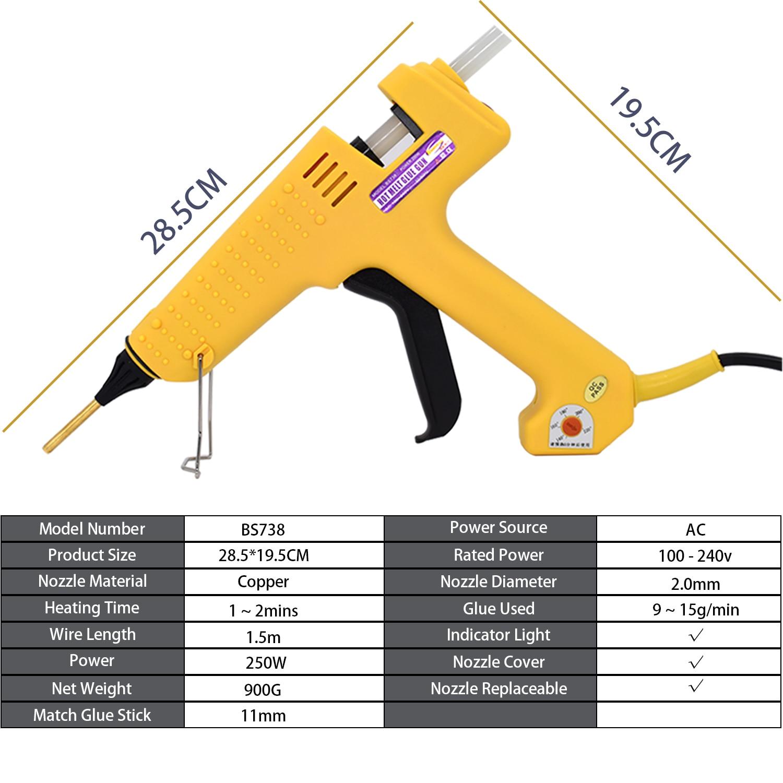 With Copper Specialty Adjustable Solizer  Glue Sticks Hot Kit 250W Gun 11MM Glue Tool Heating Nozzle Temperature Glue  Melt 1