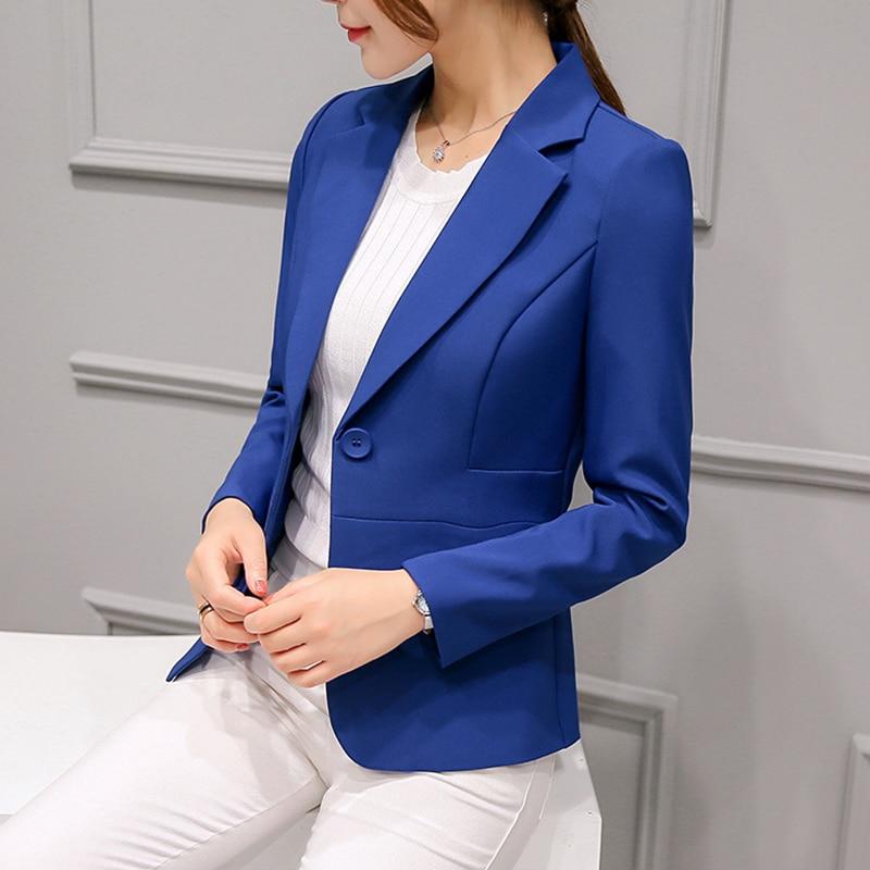 Women blazers 2019 ladies tops button solid Single Button Notched Pockets Office Lady blazer feminino pink and black blazer 0337