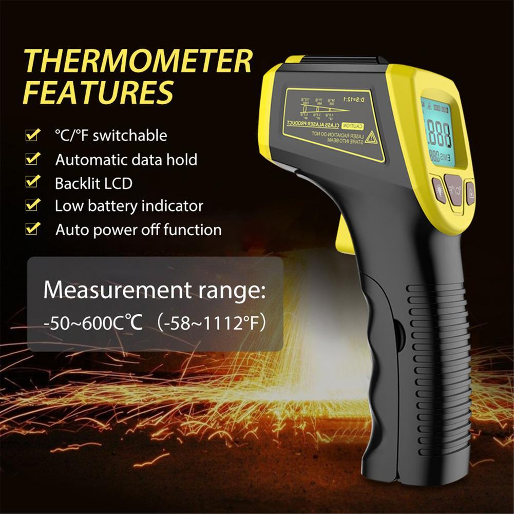 Цифровой инфракрасный термометр, Бесконтактный лазерный прибор для измерения температуры, пирометр с ЖК-дисплеем, промышленный прибор для ...