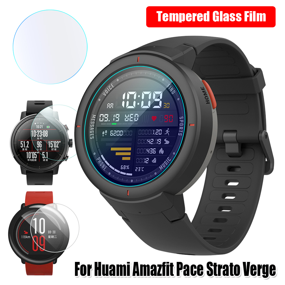 2PCS Curved Tempered 2.5D Glass Screen Protectors Protective Films Guard For Huami Amazfit Pace Stratos Verge Lite High Quality