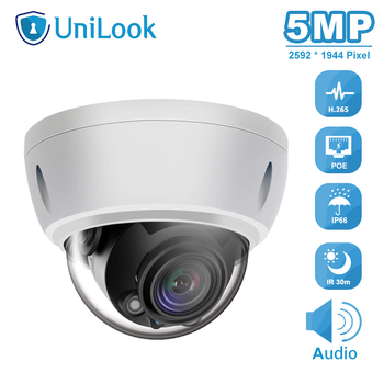 UniLook 5MP POE IP Camera Built in Microphone Outdoor Security Camera IP 66 Hikvision Compatible IR 30M Support ONVIF H.265 hikvision ds 2cd3135f i chinese version h 265 3mp dome ip camera ir 30m support onvif poe security camera