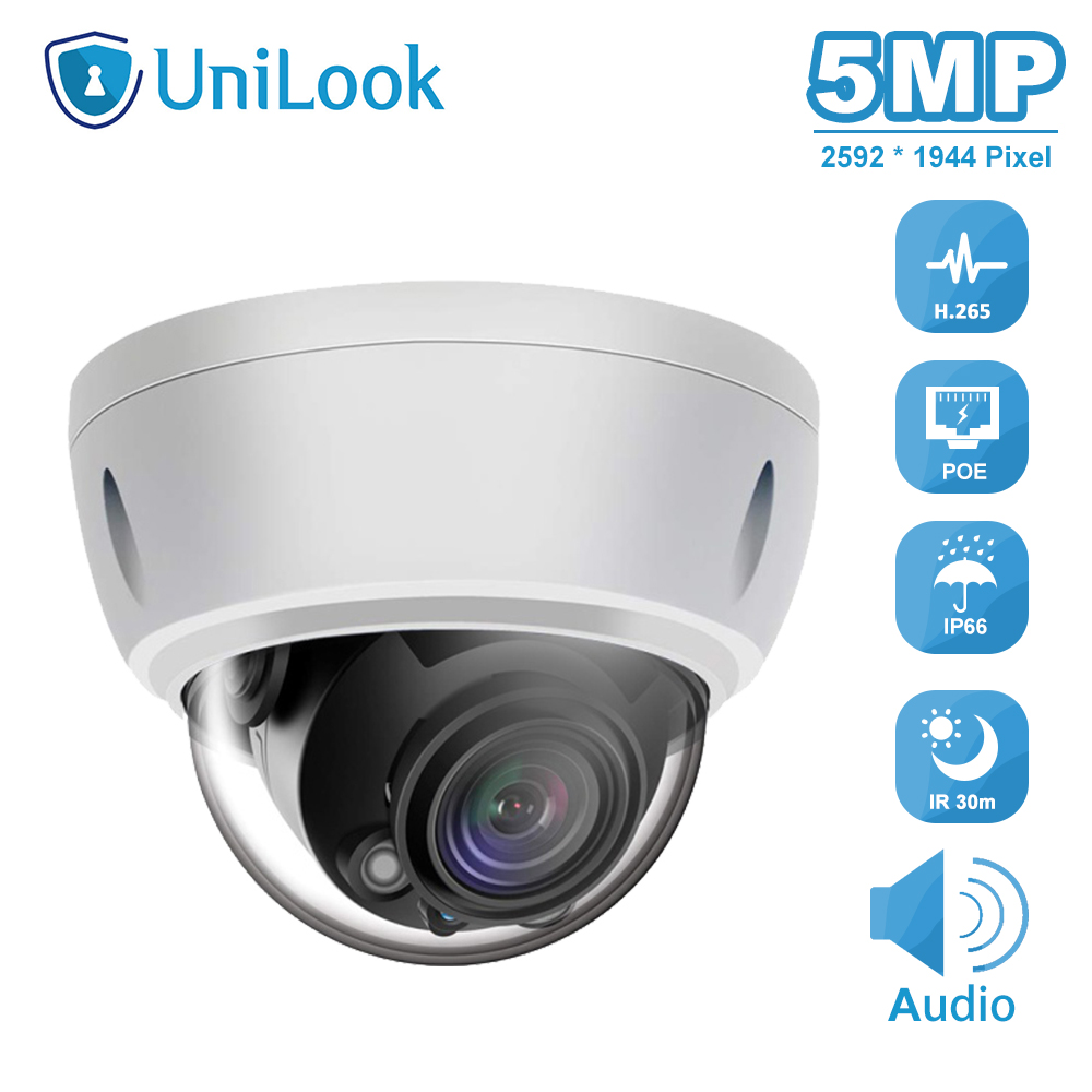 UniLook 5MP POE IP Camera Built in Microphone Outdoor Security Camera IP 66 Hikvision Compatible IR 30M Support ONVIF H.265