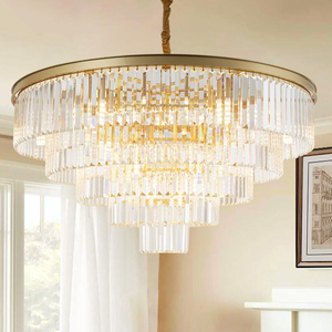 Image 4 - jmmxiuz Modern round golden chandelier crystal lighting restaurant American crystal lamp chandelier