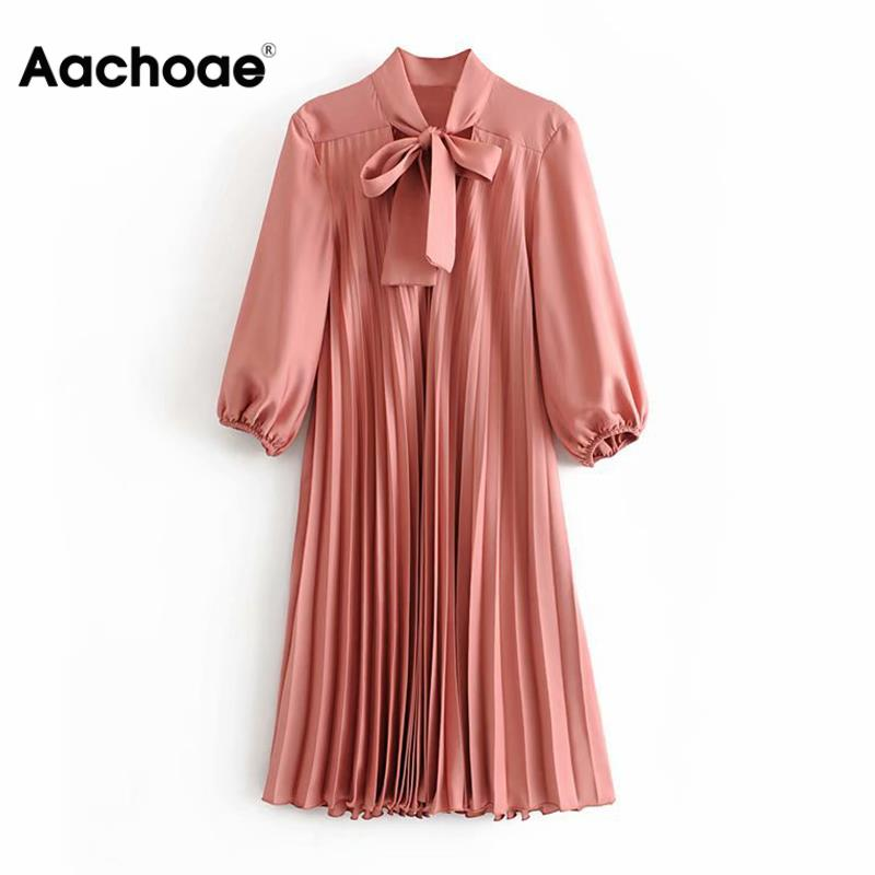 Aachoae Casual Solid Women Bow Tie Pleated Dress Sweet Three Quarter Sleeve Straight Dresses Casual Loose Lady Office Midi Dress