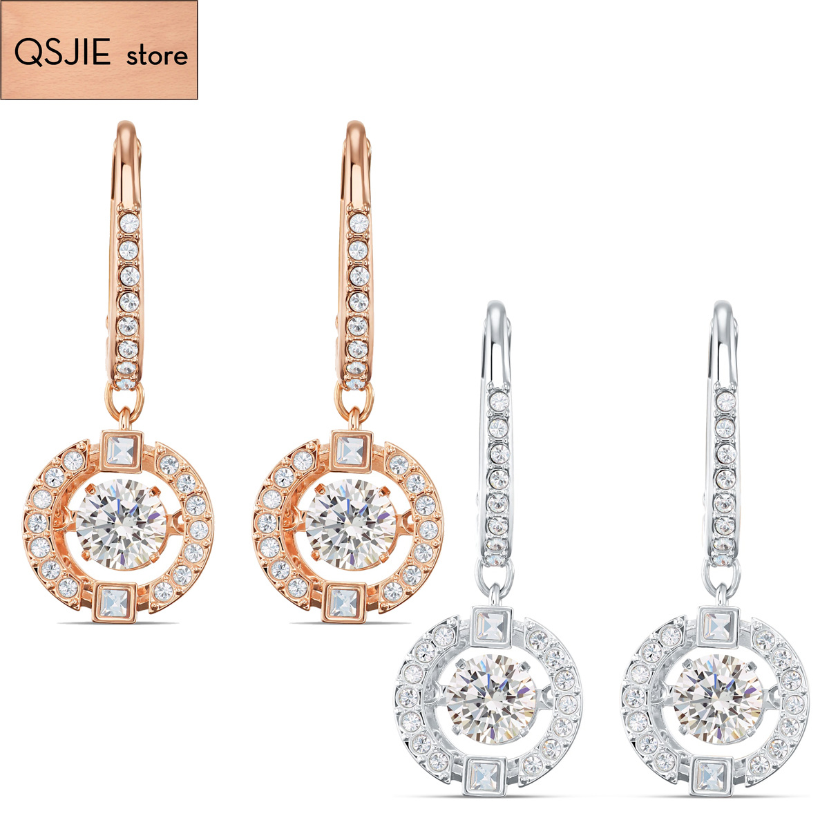 QSJIE High quality SWA new style. A nimble and charming Earring Glamorous fashion jewelry