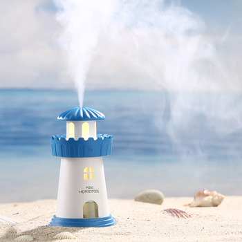 Lighthouse Shape Humidifier Purifier LED Air Aromatherapy Essential Oil Diffuser Mini Night Light Mute Desktop USB Humidifier free shipping parts new air humidifier domestic large capacity humidifier humidification mute office mini aromatherapy timing