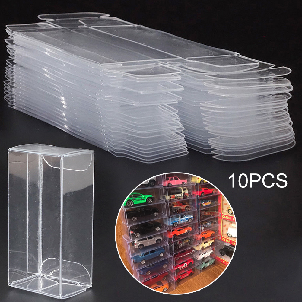 10 Pcs PVC Clear Toy Car Model 1/64 Dust Proof Display Protection Box