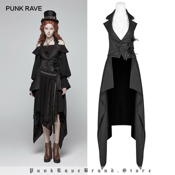 PUNK RAVE Steampunk Detachable Vintage Sleeveless Long Women Coat Jacket Fashion Hollow Out Victorian Gorgeous Gothic Clothing