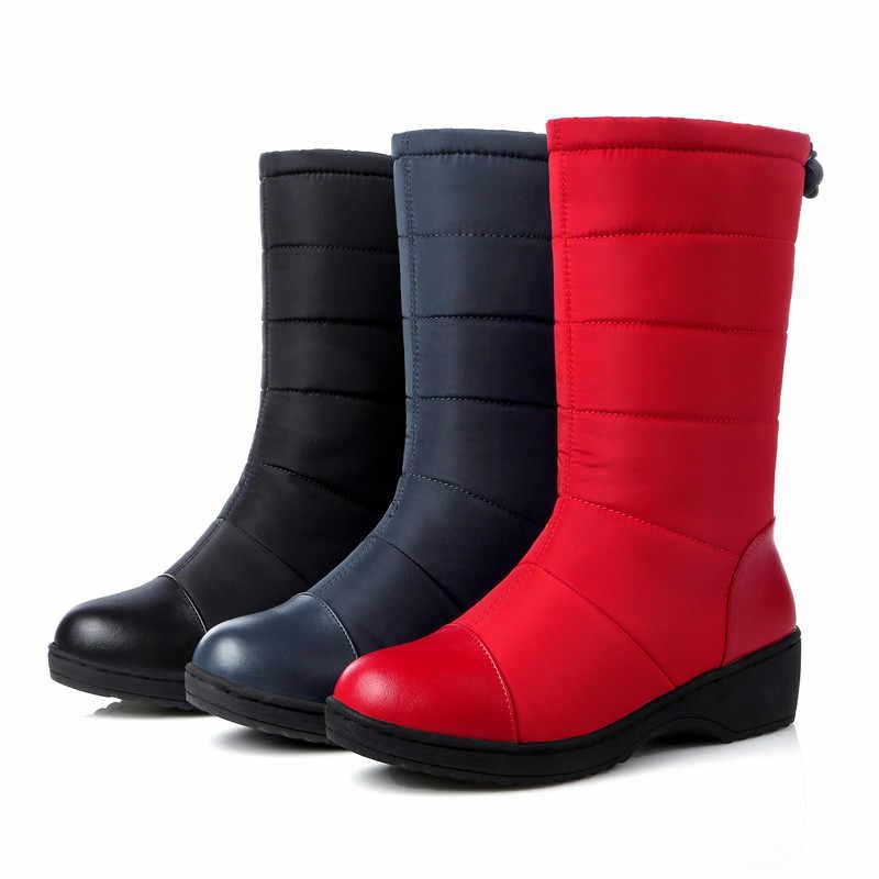 FEDONAS sonbahar kış kadın yeni sıcak orta buzağı çizmeler klasik kar botları üzerinde kayma rahat ayakkabılar kadın platformu büyük boy uzun çizmeler