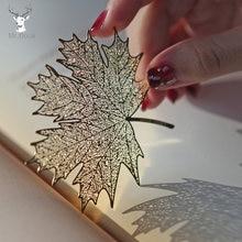 Creative retro golden hollow sycamore leaves design metal bookmark