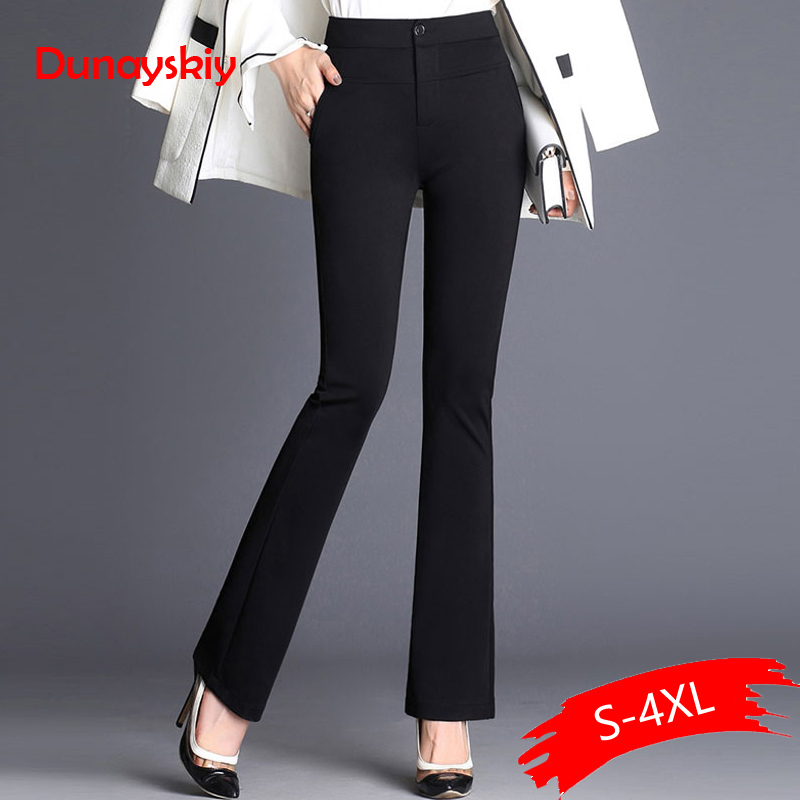 Dunayskiy Women Spring Black Navy Blue Solid Long Flare Pants Formal Office Lady High Waist Trousers Elegant Slim Business Suits