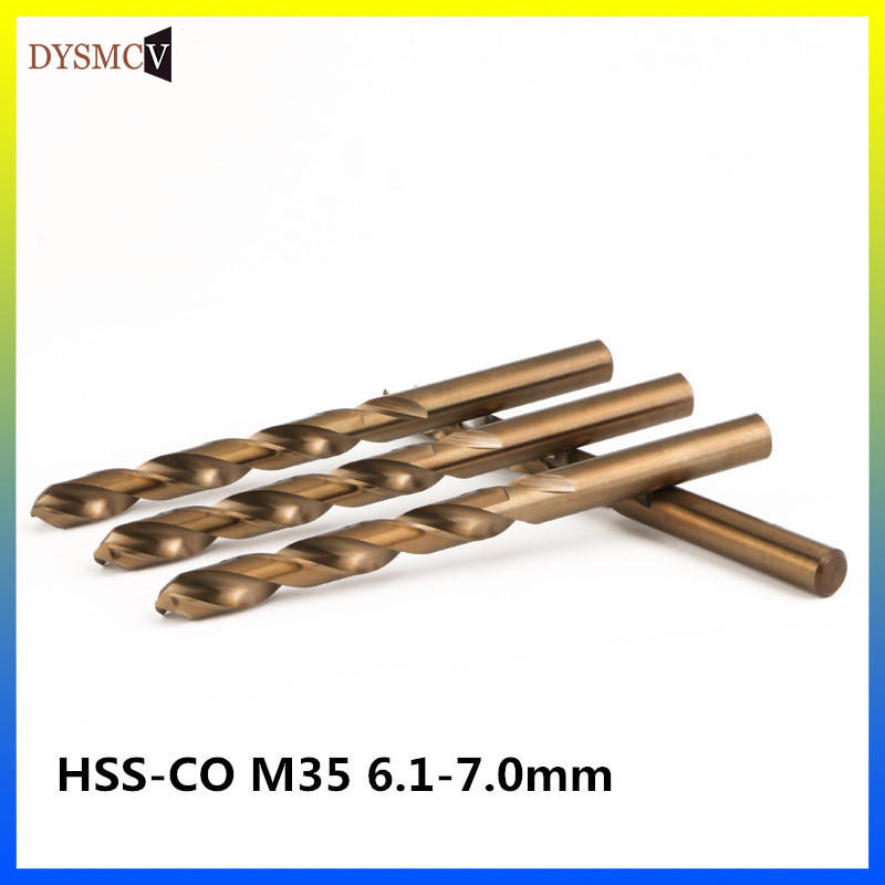 2 pcs Twist Drill Bits 6.1, 6.2, 6.3, 6.4, 6.5, 6.6, 6.7, 6.8, 6.9, 7.0mm HSS-CO M35 steel straight handle stainless steel