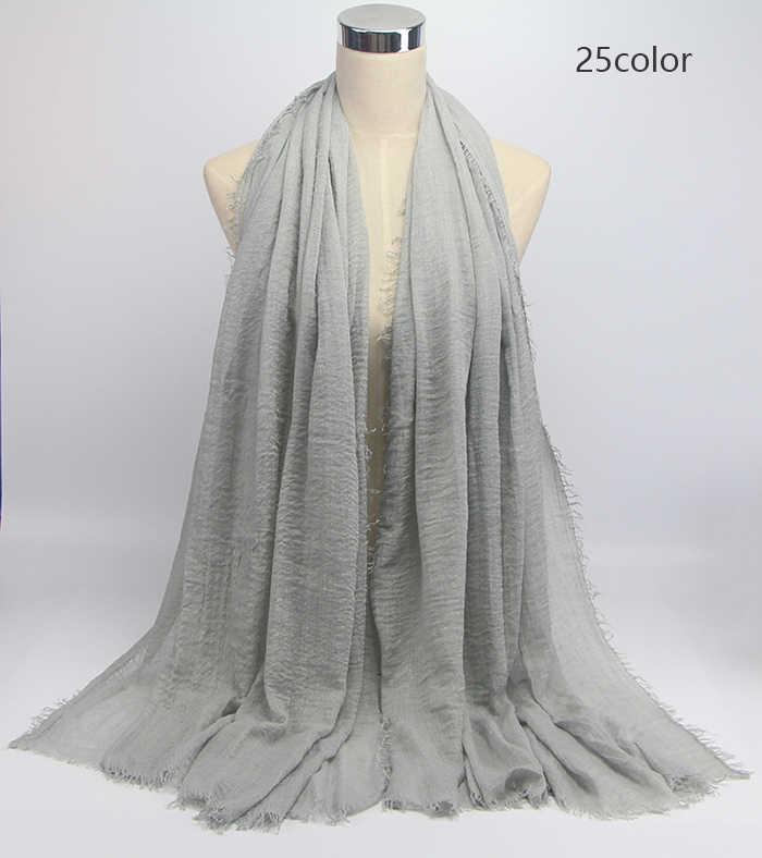 1 PC bolla pianura sciarpa donne musulmane piega sciarpa del hijab femme musulman morbido cotone foulard hijab islamico scialli e impacchi