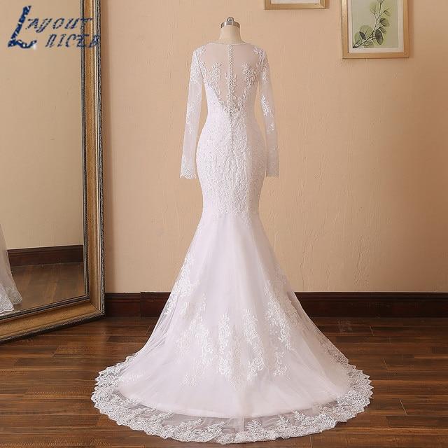 LAYOUT NICEB Mermaid Wedding Dress 2021 Illusion Back Vestido De Noiva Long Sleeve Beads O Neck Lace Appliques Bride Bridal Gown 5