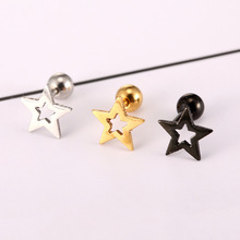 Stud Earrings For Women Ornaments Earing Oorbellen Titanium Steel Thread Five-pointed Star Defence Allergy Ear Nail Lovers Times