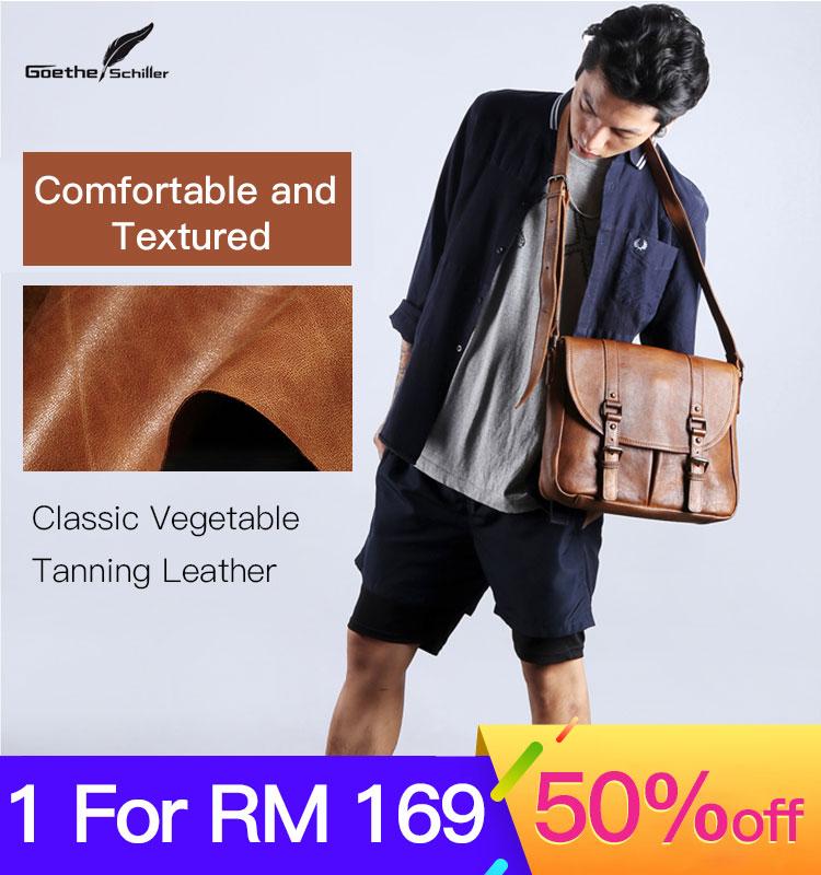 Retro PU Leather Men's Shoulder Bag Casual Simple Wild Messenger Bag Fashion Backpack File Bag Computer Bag Waterproof Bag