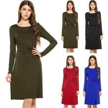 Женские платья лето 2020 полиэстер спандекс уличная одежда однотонные