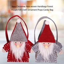 New Arrival Christmas Non-woven Handbags Forest Santa Claus Felt Cloth Ornament Props Candy Bag Children Gift Organizer