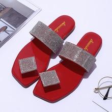 Women Slippers Footwear Flats Outside-Shoes Flip-Flops Crystal Square-Toe Casual Fashion